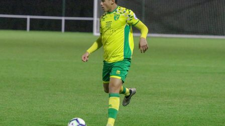 Josh Coley in action for Norwich City U23s against Leicester at Colney Picture: Norwich City FC