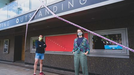 Norwich Theatre Royal has been covered in tape as part of a national campaign, pictured are Simon Fr