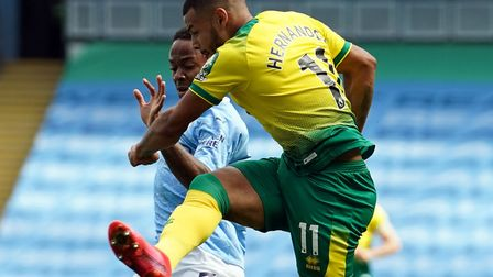 Norwich City wide player Onel Hernandez's early strike at Manchester City was ruled out by the video