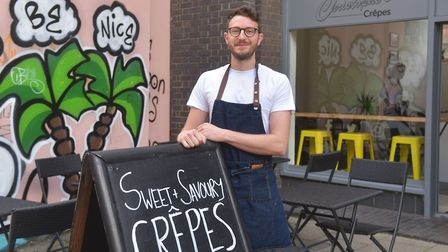 Owner Chris Smith outside Christophe's Crepes, which has opened in the former home of Tofurei in the