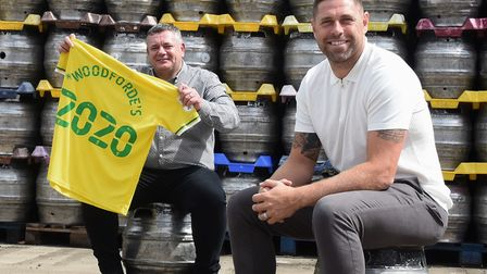 Woodforde's chief executive Joe Parks, left, with Norwich City FC ambassador Grant Holt at the Fur a