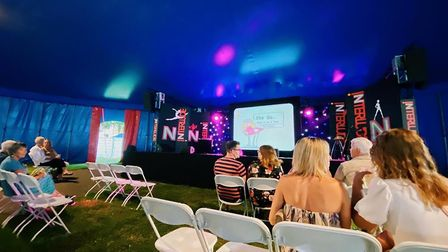 Inside the big top tent with seating in bubbles at Interlude in Chapelfield Gardens, Norwich. Pictur