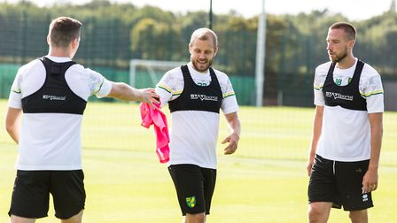 Norwich City's players in pre-season training at the Lotus Training centre, from left, Kenny McLean,