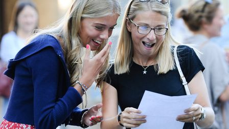 Students at Norwich School receive their GCSE results.Lila Hallam reacts to her GCSE grades. Pictur