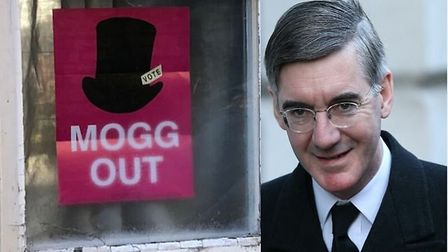 A series of anti Jacob Rees-Mogg messages have been placed all over the Conservative hopeful's const