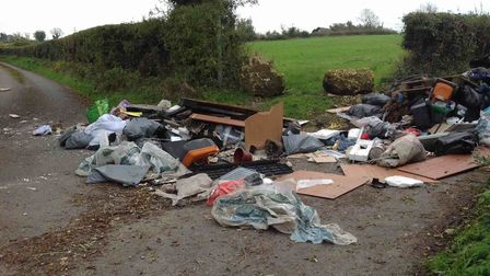 Fly-tipping in Oxleaze Lane in Dundry, Bristol. Picture: North Somerset Council