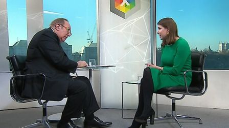 Jo Swinson is interviewed by Andrew Neil. Photograph: BBC.