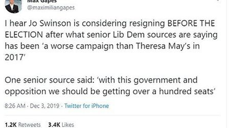 A tweet sent by Max Gapes claimed Jo Swinson was resigning. Photograph: Twitter.