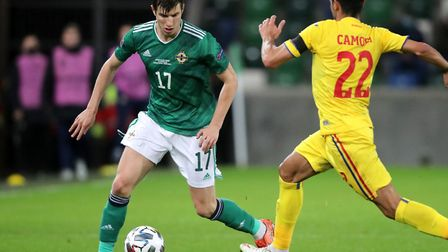 Boro midfielder in action for Northern Ireland against Romania on Wednesday night Picture: Niall Car