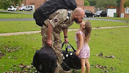 The moment four-year-old Elsie Bushy was reunited with her father Dean Bushby after a four month dep