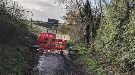 The end off New Home Lane in Horsham St Faith which is temporarily blocked off while the new access