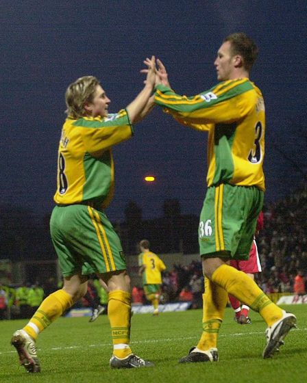 Celebration time for Paul McVeigh and Dean Ashton Picture: Archant