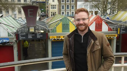 Josh Worley, who has set up the norwichmarket.net app, also runs Barry's of Norwich fabric stall wit