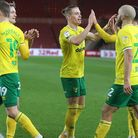 Teemu Pukki of Norwich celebrates scoring his sides 1st goal from the penalty spot during the Sky Be