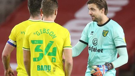 Grant Hanley, Ben Gibson and Tim Krul celebrate Norwich City's 1-0 win at Middlesbrough Pictures: Paul Chesterton/Focus...