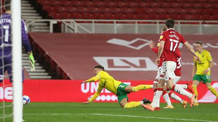 Max Aarons was fouled by Hayden Coulson ahead of Teemu Pukki's match winning penalty for Norwich Cit
