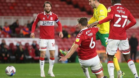 Boro defender Dael Fry did well to block a shot from Norwich midfielder Lukas Rupp during the second