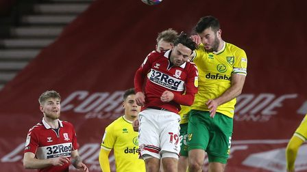 Grant Hanley of Norwich wins a header during the Sky Bet Championship match at the Riverside Stadium
