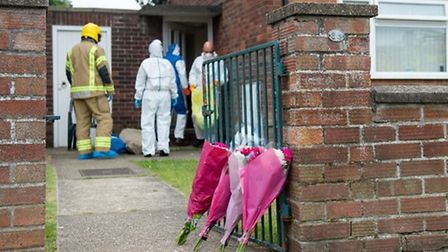 Emergency services at a flat on Oxford Avenue in Gorleston after the bodies of Alex Mills, 32, and N