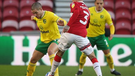 Emi Buendia and, background, Max Aarons in action for Norwich City at Middlesbrough on Saturday Pic
