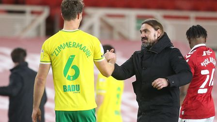 Norwich Head Coach Daniel Farke and Christoph Zimmermann of Norwich at the end of the Sky Bet Champi