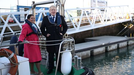 Boris Johnson and Priti Patel on a boat at Southampton docks during the 2019 election campaign