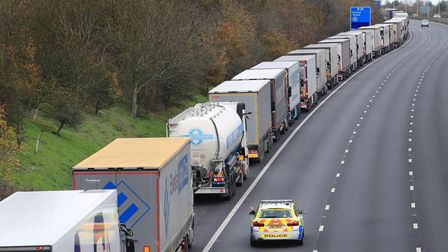 Freight lorries queueing along the M20 in Kent waiting to access the Eurotunnel terminal in Folkesto