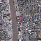 A map of Great Yarmouth South Quay showing where roadworks will take place beginning on December 5, 2020.