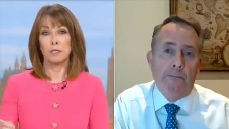 Kay Burley (L) and former international trade minister Liam Fox on Sky News
