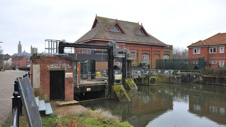 The Victorian pump house and sluice gates at New Mills in Norwich.