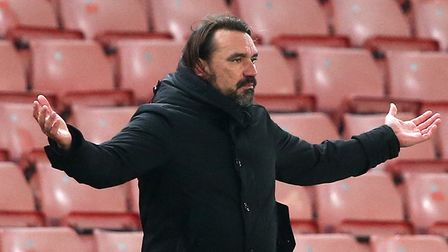 Norwich Head Coach Daniel Farke during the Sky Bet Championship match at the Bet 365 Stadium, Stoke-