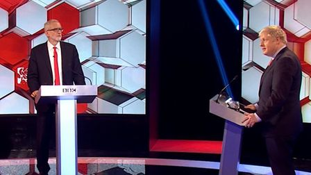 Prime minister Boris Johnson and Labour leader Jeremy Corbyn going head to head in the BBC Election