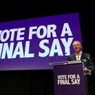 Former prime minister Tony Blair speaking during the Final Say rally at the Mermaid Theatre