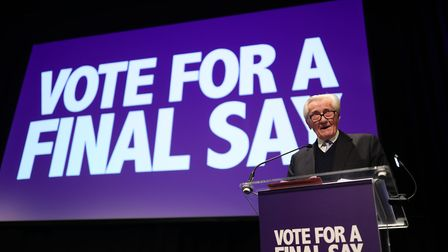 Lord Michael Heseltine on stage during the Final Say rally at the Mermaid Theatre, London. Photograph: Yui Mok/PA Wire.