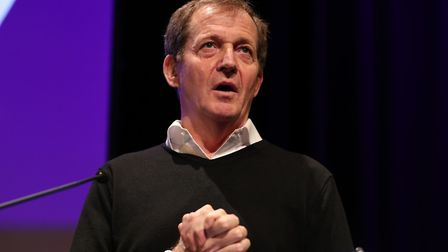 Alastair Campbell on stage during the Final Say rally at the Mermaid Theatre, London. Photograph: Yu