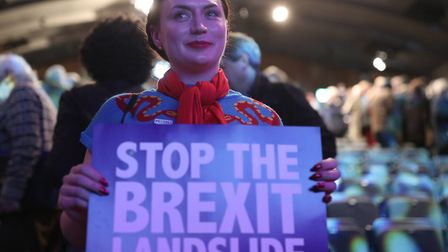 Anti-Brexit supporters during the Final Say rally at the Mermaid Theatre, London. Photograph: Yui Mok/PA Wire.