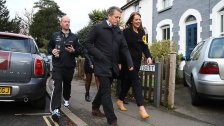 Hugh Grant canvassing in Walton-on-Thames in the Esher & Walton constituency with Liberal Democrat c