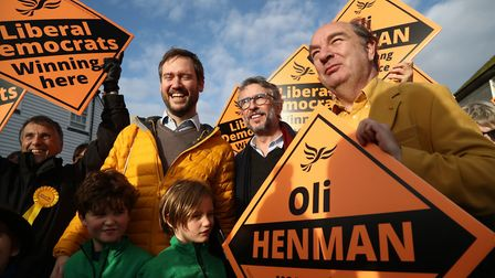 Actor Steve Coogan canvassing in Lewes, in the Lewes constituency with Liberal Democrat candidate Ol