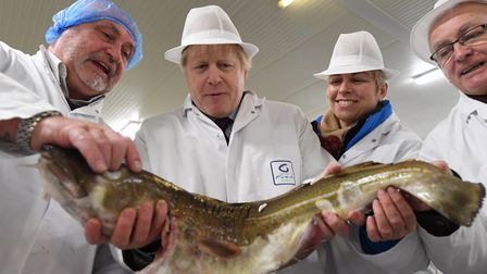 Boris Johnson on a visit to Grimsby's fish market during the 2019 general election campaign