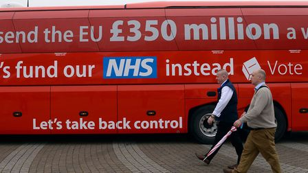 The now-notorious Vote Leave bus pictured ahead of its journey across Britain. Vote Leave has since