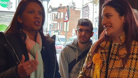 Gina Miller campaigns with Luciana Berger. Photograph: Julia Hines/Twitter.