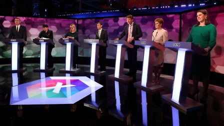 Representatives from seven of the major parties in a TV debate. Photograph: Hannah McKay/PA Wire