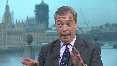 Nigel Farage is interviewed by Andrew Neil. Photograph: BBC.