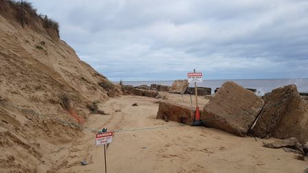 Winterton beach has been depleted by high tides.