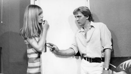British actors Jane Birkin and David Hemmings on the set of Blowup, written and directed by Michelan