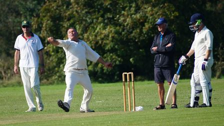 Mark Channon bowling for Tipton in the home win over Yarcombe and Stockland. Picture PHIL WRIGHT