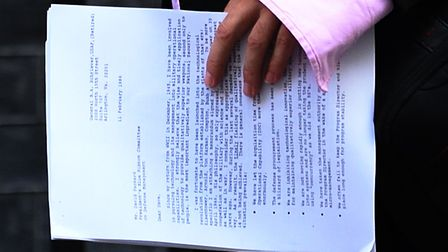 Senior aide to Prime Minister Boris Johnson, Dominic Cummings, carrying a copy of a 1986 archive letter. Photograph...