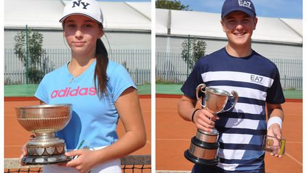 Sophie Tjurina (left), 14, and Seth Brigg-Williams (right), 15, retained their singles titles at a Wisbech Tennis Club...