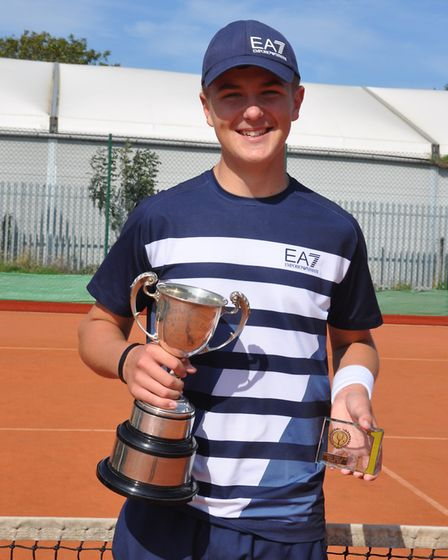 Seth Brigg-Williams, 15, retained his singles title at a Wisbech Tennis Club event. Pictures: WISBECH TENNIS CLUB