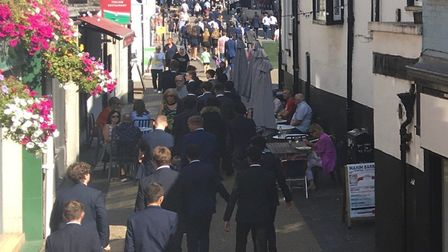 Pupils from St Albans School are being urged to maintain social distancing when visiting the city centre.